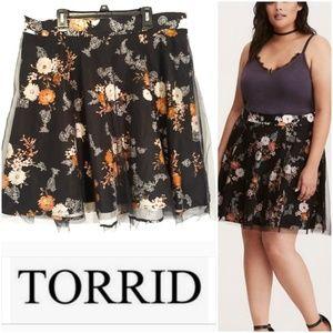 Torrid Floral Print Mesh Skater Skirt